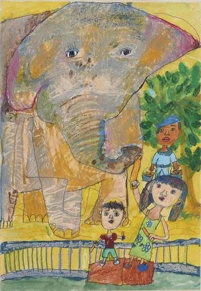 絵画の部  齋藤 英さん 「ゾウにえさをやったよ」
